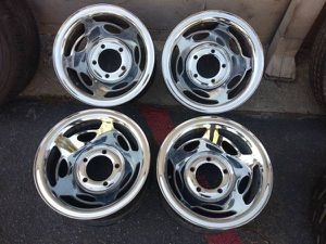 15x8 chrome steel wheels. 5 on 5.5 lugs, Dodge, Ford, Jeep, more for Sale in Montebello, CA