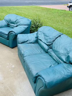 ❤️GENUINE LEATHER Sofa Set❤️ Sofa Couch Loveseat + Chair Real Leather Dark Green for Sale in Kissimmee,  FL