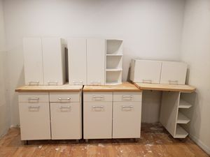White Kitchen Cabinets with Wood Counter for Sale in Hollywood, FL