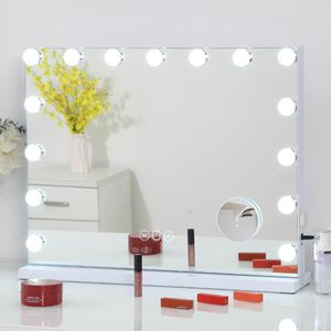 Large Vanity Mirror with Lights and Charging Port, Hollywood Lighted Makeup Mirror with 15 Dimmable LED Bulbs for Dressing Room & Bedroom, Tabletop o for Sale in Los Angeles, CA