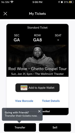 Rod wave ticket for Sale in Newark, NJ