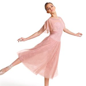 Fly Away rose petal pink ballet prom dress costume Halloween set lace floral sheer xs for Sale in Vancouver, WA