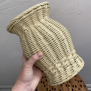 Cream Woven Wicker Utensils Basket Or Vase for Sale in Beverly Hills, CA