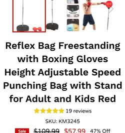 Reflex Bag Freestanding with Boxing Gloves Height Adjustable Speed Punching Bag with Stand for Adult and Kids Red for Sale in Rancho Cucamonga,  CA