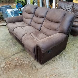 Suede Couch With Two Recliners for Sale in Woodstock, GA