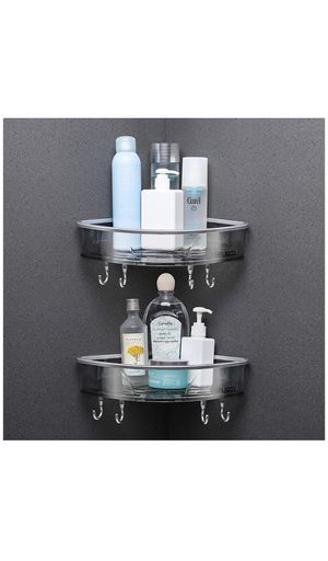 Shower Caddy Corner - Bathroom Wall Shelf Hanging Shower Organizer Storage Holder Shelves 2 Tier Mounted with Adhesive and Hooks for Sale in Raleigh, NC