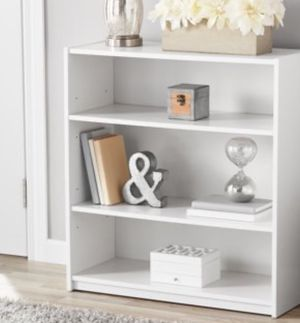 New!! Bookcase, bookshelves, 3 shelf bookcase, storage unit, organizer, console , shelving display, living room furniture. White for Sale in Phoenix, AZ