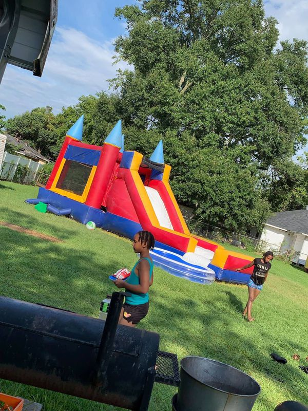 Space walk & water slide into one