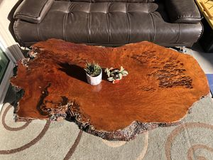 Natural Oak Wood Slice Slab Coffee Table Live Edge, Root Legs Heavy & Thick for Sale in Sacramento, CA