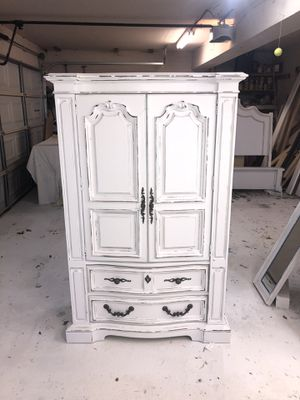 Solid wood farmhouse cottage shabby chic rustic vintage French provincial country armoire wardrobe dresser closet cabinet for Sale in Southlake, TX