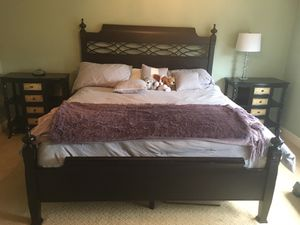 King size bedroom set. (Black Cherry wood) bed frame and side tables for Sale in Bonney Lake, WA