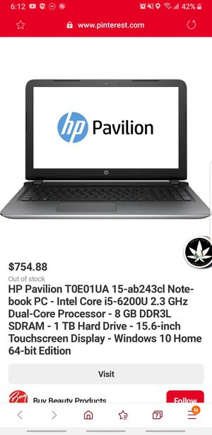 Hp pavillion notebook touch screen for Sale in Fresno, CA