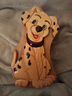 Dalmatian hand carved hide away box for Sale in Hermon, ME