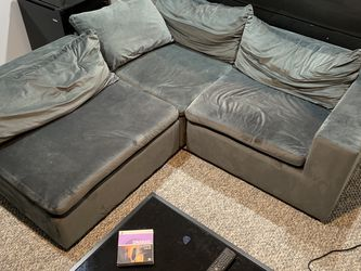 Fitz Contemporary Low Profile Velvet Lounge Sofa with Chaise for Sale in Mundelein,  IL