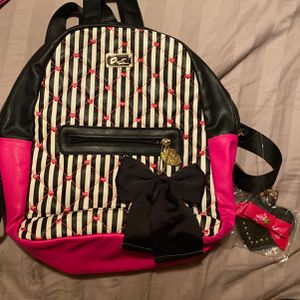Luv Betsey Backpack/ Purse Pink And Black Heart Quilt for Sale in Round Rock, TX