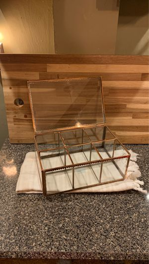 Glass and metal tea box for Sale in Portsmouth, RI
