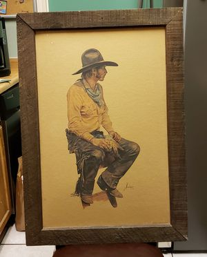 GORDON SNIDOW COORS COLLECTION 1978 COWBOY PRINT WITH FRAME for Sale in Schertz, TX