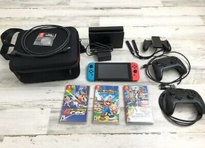 Pre-owned Nintendo Switch Bundle! Red And Blue Joy-cons 2 Pro Cons + 3 Games +++ for Sale in Carrollton, TX