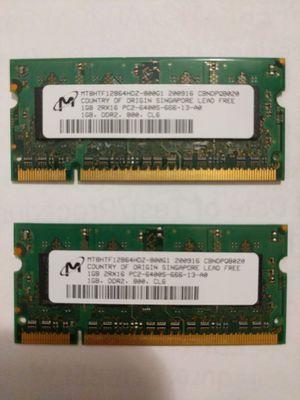 2 x1GB Micron 1GB DDR2 SoDimm Non ECC PC2-6400 800Mhz Memory for Sale in Springfield, VA