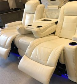 🚚Instock ♦️Party Time White LED Power Reclining Sofa with Adjustable Headrest ⚡New Brand ♦️ for Sale in College Park,  MD