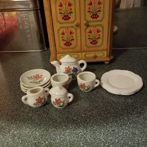 Beautiful porcelain tea set with doll house hutch. MAKE ME AN OFFER for Sale in Tempe, AZ