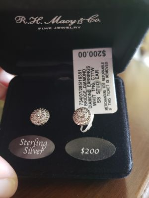 Sterling Silver Diamond Studded Earrings Brand New for Sale in Anaheim, CA