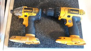 "2 Dewalt cordless impact drills (1/4"" & 1/2""), cordless flashlight, one battery, and one charger (18 volt) for Sale in Portsmouth, RI"