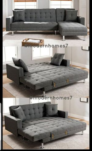 Grey linen adjustae sectional sofa with chaise launge convertible sleeper couch for Sale in Fontana, CA