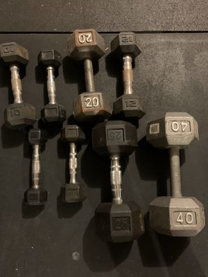 Single dumbbells - cast iron and rubber dumbells weights for Sale in Cypress, TX