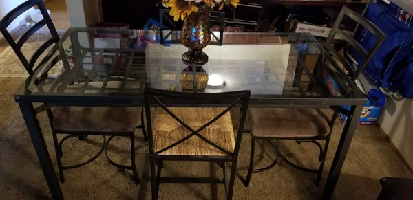 Glass kitchen table with 5 chairs