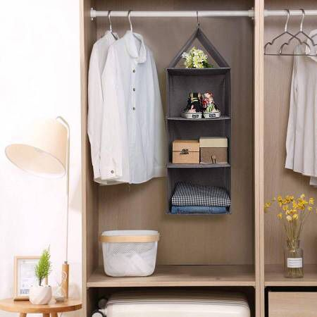 3-Shelf Hanging Closet Organizer Fabric Collapsible with PP Plastic