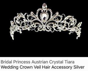 Silver Australian Crystal Tiara Wedding Crown for Sale in Alexandria, VA