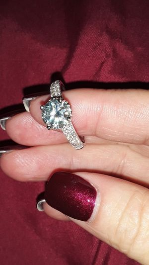 Ice-Blue/White Moissanite Ring Solid Silver Sz 8 for Sale in Vancouver, WA