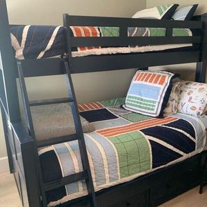 Navy Blue Bunk Bed Twin And Full Size w 2 Big Storage Drawers for Sale in Oceanside, CA
