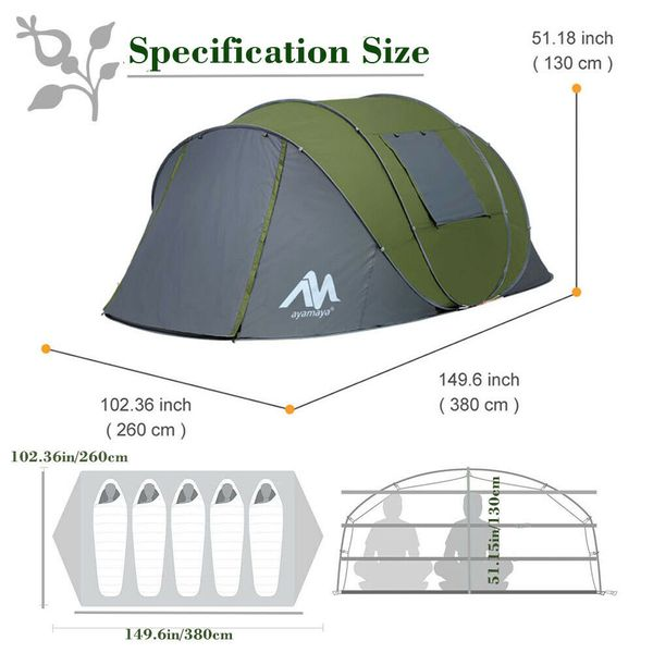 5-6 Person Instant Pop Up Waterproof Tent For Family Backpacking Hiking Camping