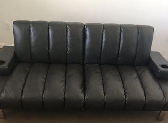 Black Pleather Futon Sofa Bed for Sale in Hesperia,  CA