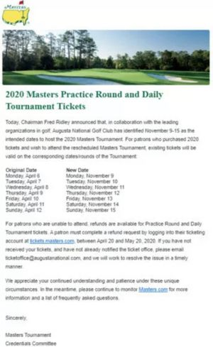 4 MASTERS practice round tickets November 10th for Sale in GA, US
