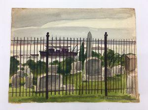"Original 9"" X 12"" NYC Bronx Pelham Cemetery Watercolor by 1950's Illustrator Rudolph Schwartz for Sale in Hamilton Township, NJ"