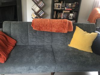 Gray Faux Velvet Futon Sofa Couch for Sale in Beaverton,  OR