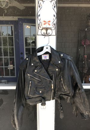 Woman's leather fringed short waisted motorcycle jacket for Sale in North Fort Myers, FL