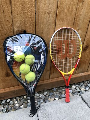 Tennis racket and balls for Sale in Lynnwood, WA