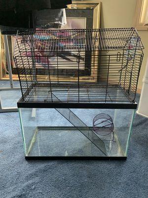 Small Animal 10 Gallon Glass Cage w/wire Topper & Accessories for Sale in Billerica, MA