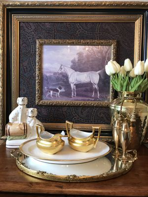 Give your coffee bar an elegant touch with this luxurious Bavarian, gold encrusted creamer, sugar bowl and platter set circa 1940-60 for Sale in Norcross, GA