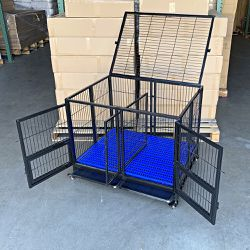 """New in Box $170 Folding Heavy-Duty Dog Crate 41""""x31""""x34"""" Dual-Door Stackable Cage Kennel, Divider, Plastic Tray for Sale in East Los Angeles,  CA"""