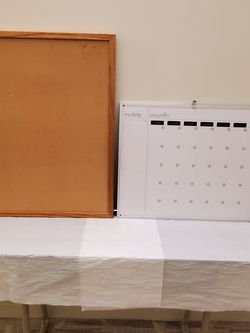 Medium size MESSAGE BOARDS - 1 CORK BOARD - 1 DRY-ERASE BOARD with MONTH / DAY / NOTES - price EACH - firm for Sale in Arlington,  VA