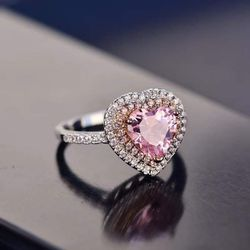 (FREE SHIPPING) Brand New Pink Heart Diamond Engagement Ring Set Woman's Jewelry Wedding Band for Sale in St. Louis,  MO