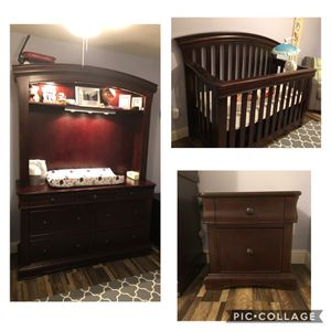 nursery furniture: crib/toddler bed, changing table, dresser, hutch, nightstand for Sale in Fresno, CA