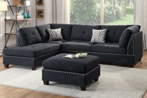Black Sectional with ottoman. NEW! for Sale in Bakersfield, CA