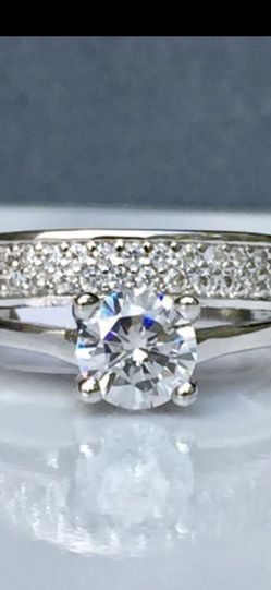 White gold filled solitaire ring size 5 jewelry for Sale in Silver Spring,  MD
