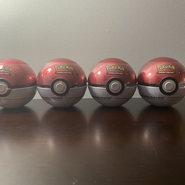 LOT x4 Poke Ball Tin 3 Booster Pack 1 Coin SEALED
